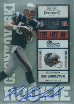 07f13696413 Gronkowski will definitely be a player to watch, as will his rookie cards  including the 2010 Playoff Contenders Rob Gronkowski Rookie Auto #299 and  the 2010 ...